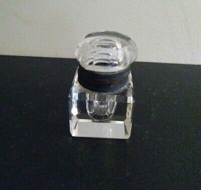 Antique Cut Glass Inkwell With Glass Lid