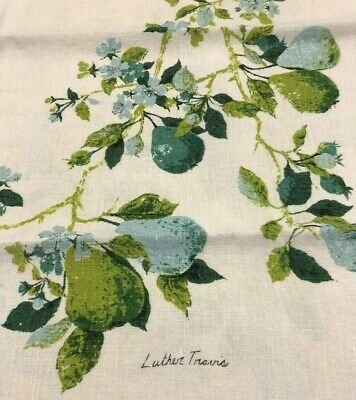 """Vintage Luther Travis Linen Tablecloth Pears & Blossoms Teal Green Aqua 48""""X46"""""""