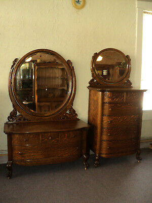 Antique Oak Claw Foot Dresser & Chest of Drawers w. Mirrors, Shipping NOT Free!