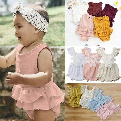Summer Newborn Baby Girl Lace Bow Romper Bodysuit Jumpsuit Outfit Clothes