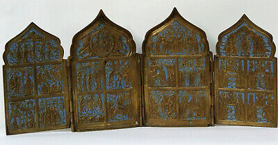 ANTIQUE RUSSIAN OLD BELIEVERS 4 PANEL ICON BRONZE ENAMEL NEW TESTAMENT 19TH cent