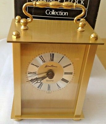 "Fabulous boxed Bentima Brass Quartz Mantel Carriage Clock  4.5""/12cm Tall"