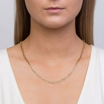 """10K Solid Gold 3mm Italian Figaro Chain Link Pendant Necklace 16""""- 30"""""""