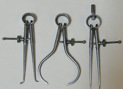 Good Set of 3 Moore & Wright spring dividers calipers Engineers Tools