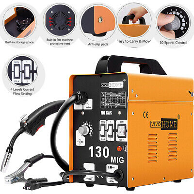 VIVOHOME MIG 130 Welder Flux Core Wire Automatic Feed Welding Machine w/ Mask