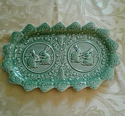 Bordallo Pinheiro Green BUNNY RABBIT SANDWICH TRAY/PLATE: Rectangular, Portugal