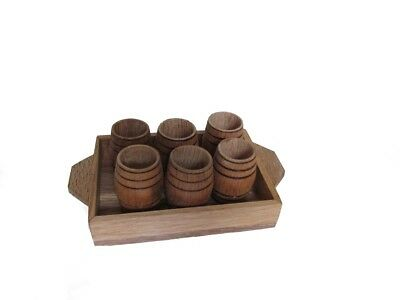 6 Oak barrel wood shot glasses with tray whiskey whisky bourbon hand made