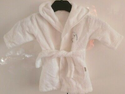 New! Mothercare White Hooded Towelling Robe. Age 0-3 Months
