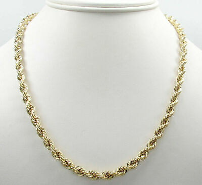 "10K Solid Yellow Gold 4mm Rope Chain Thick Necklace Mens Women 18""-30"""