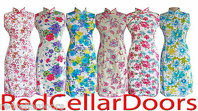 New Womens Cotton STRETCH CHEONGSAM Vibrant Zip Up Chinese Fitted Dress Pretty!