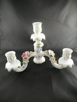 Vintage Porcelain Floral Four Candle Holder Centerpiece Candlestick Quad Applied