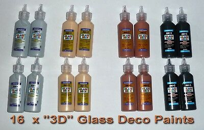 GLASS DECO 16 x 22ml Colours 3D PAINT OUT LINER decorating ART CRAFT NEW SEALED