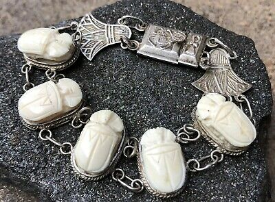 Antique Egyptian Revival Scarab Carved Beetles Sterling Silver Bracelet 7.5""