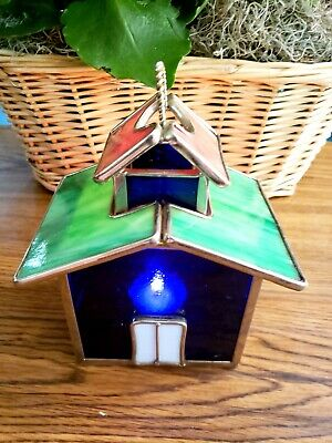 Stained Glass Luminary Birdhouse Hanging Candle Tealight Lantern