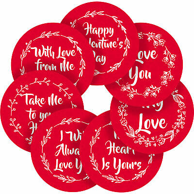 Happy Valentines Day Stickers Labels Red Heart Couples Love Forever 40 mm M14023