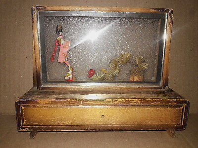 "Antique Occupied Japan Wooden Glass Jewelry Box Rare Unusual 5.6"" H x 7"" L"