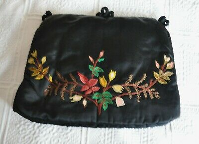 Vintage Hand Embroidered Floral Satin Tea Cosy / Cozy