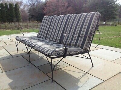 Mid Century Woodard Wrought Iron Sofa & Lounge Chairs, with coffee & end table