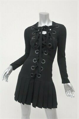 Givenchy Lace-Up Dress Black Stretch Wool Size 38 Long Sleeve Pleated Drop Waist