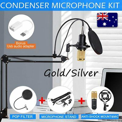 Condenser Microphone Kit Studio Suspension Boom Scissor Arm Stand Sound AU