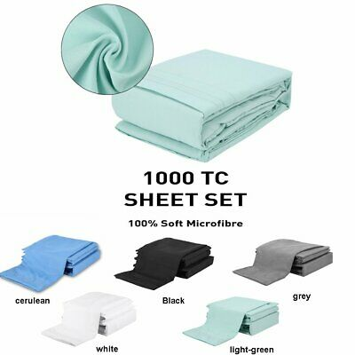 1000TC Ultra Soft -4pcs Flat & Fitted Sheet Set All Size with Pillowcases NEW^