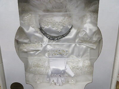 FIRST HOLY COMMUNION outfit with GLOVES & TIARA BEADED PEARLS heirloomed sealed