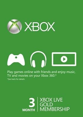 3 Month Xbox Live Gold Membership Card (Xbox One/360) - 24 HOUR DELIVERY 📩
