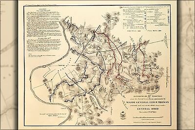 Poster, Many Sizes; Map Of Battle Fields Nashville,Tennessee 1864