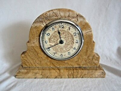 Vintage SMITH ELECTRIC England Classic Alabaster or Marble Mantle Clock (LK)