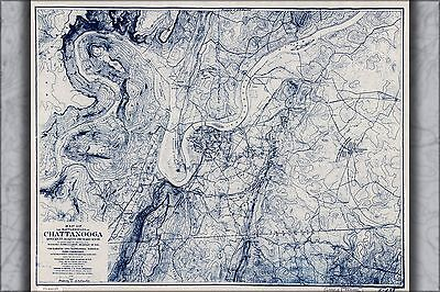 Poster, Many Sizes; Map Of The Battle Fields Of Chattanooga 1901
