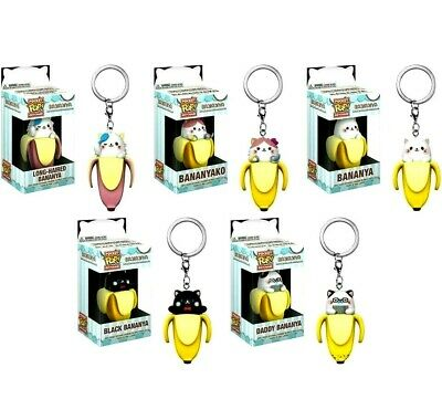 Bananya SET OF 5 - Funko Pocket POP! Keychain Long-Haired Daddy Black Bananyako