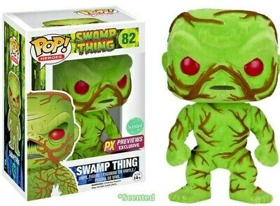 Funko Pop FLOCKED SCENTED SWAMP THING 82 Vaulted Classic PX PREVIEWS w Protector