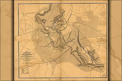 Poster, Many Sizes; Map Of The Battle Fields Of The Wilderness 1865