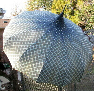 Vintage Pagoda Parasol Umbrella GEOMETRIC DESIGN BLUE, BLACK WHITE Criss Cross