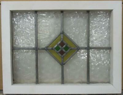 "OLD ENGLISH LEADED STAINED GLASS WINDOW Pretty Diamond Design 18.5"" x 14.5"""