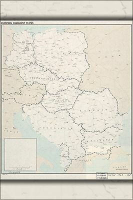 Poster, Many Sizes; Cia Map Of Europe Communist States 1963