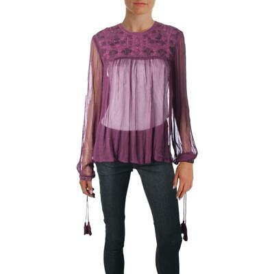 eaa4e064ea2736 Free People Womens Purple Sheer Embroidered Night Out Blouse Top S BHFO 2346