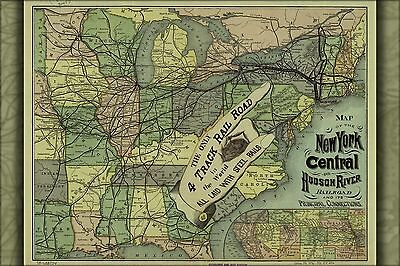 128b91708635c OLD RAILROAD MAP - New York Central and Hudson River Railroad 1876 ...