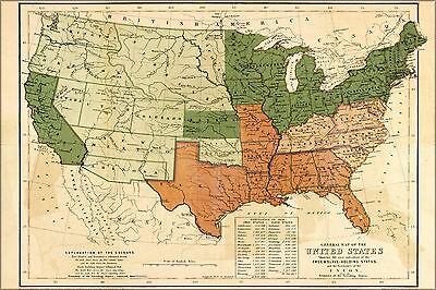 Poster, Many Sizes; Map Of United States Free & Slave States 1857