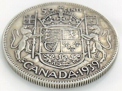 1939 Canada 50 Fifty Cent Half Dollar Circulated George VI Canadian Coin J241