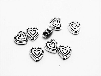 20pcs Tibetan Silver Charms Heart Spacer Beads Jewelry Accessories 11mm D3092
