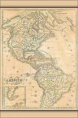 Poster, Many Sizes; Map Of America With United States 1860 In Greek