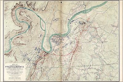 Poster, Many Sizes; Map Of The Battle Fields Of Chattanooga Lookout Mountain 190