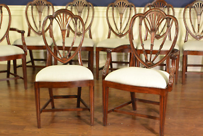 10 Leighton Hall Traditional Hepplewhite Sweetheart Shieldback Dining Chairs