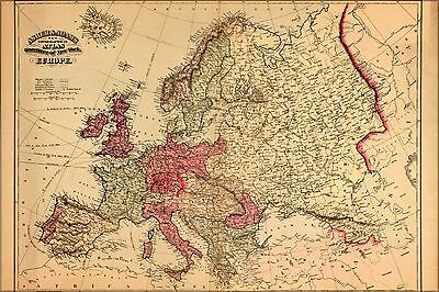 Poster, Many Sizes; Topographical Map Of Europe 1871