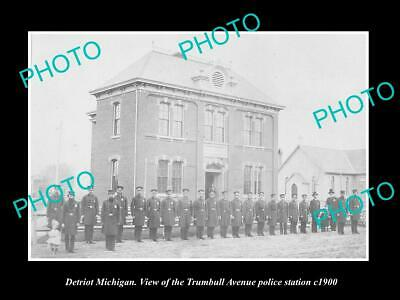 OLD 8x6 HISTORIC PHOTO OF DETROIT MICHIGAN THE TRUMBELL POLICE STATION c1900