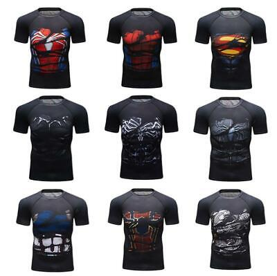 Men's Marvel Avengers T Shirts Compression Workout Tops Cosplay Costumes Dri fit