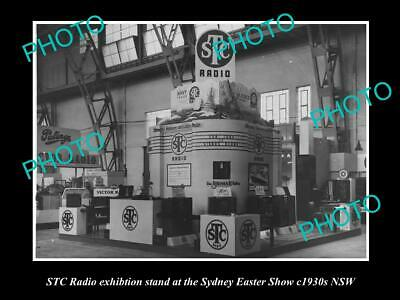 OLD 8x6 HISTORIC PHOTO OF STC RADIO SHOW DISPLAY STAND, c1930s SYDNEY NSW
