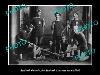 OLD 8x6 HISTORIC PHOTO OF SEAFORTH ONTARIO, THE SEAFORTH LACROSSE TEAM c1900