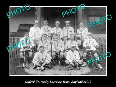 OLD 8x6 HISTORIC PHOTO OF THE OXFORD UNIVERSITY LACROSSE TEAM, ENGLAND c1910
